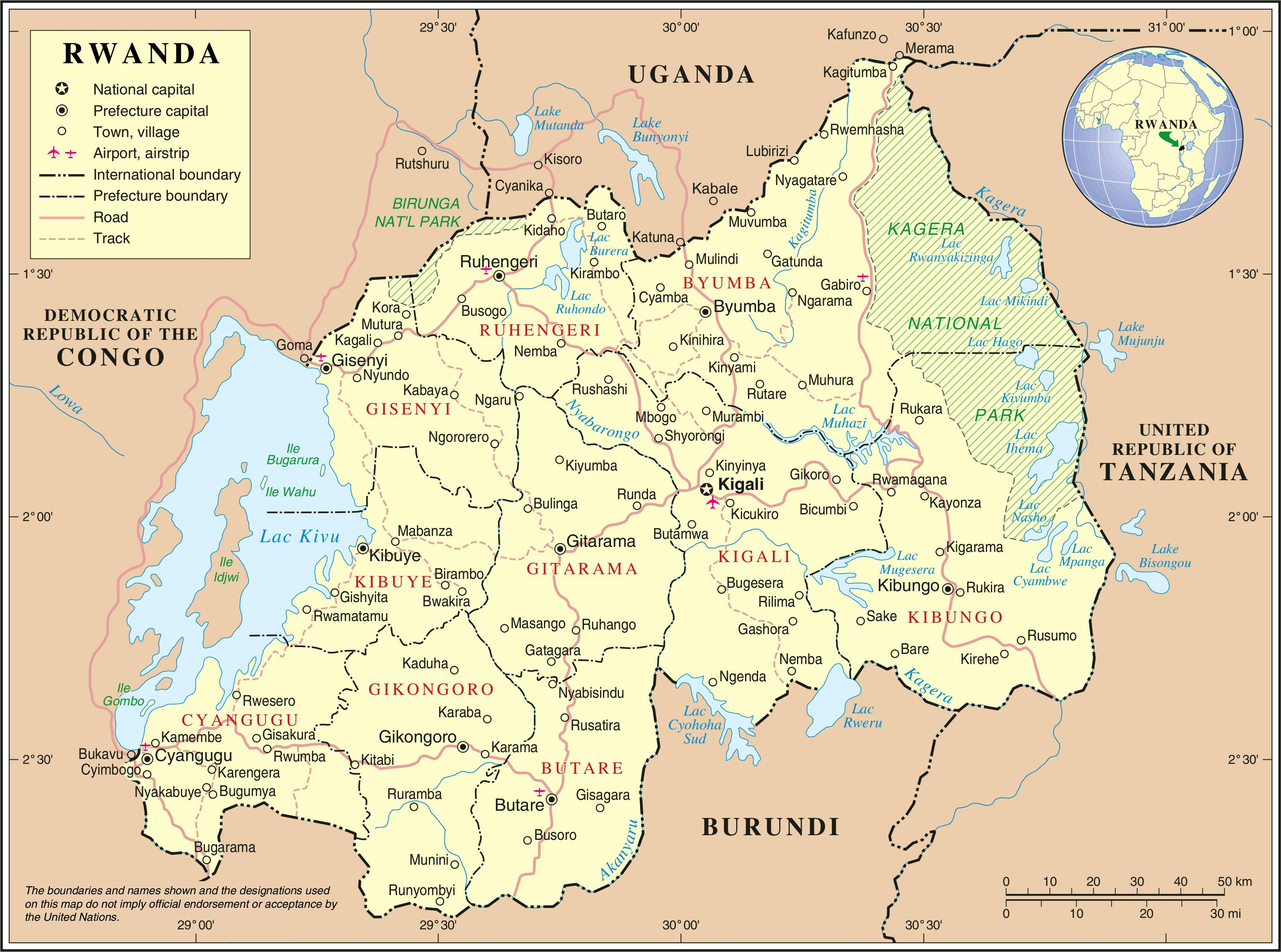 Carte Afrique Rwanda.Carte Administrative Du Rwanda Carte De La Carte